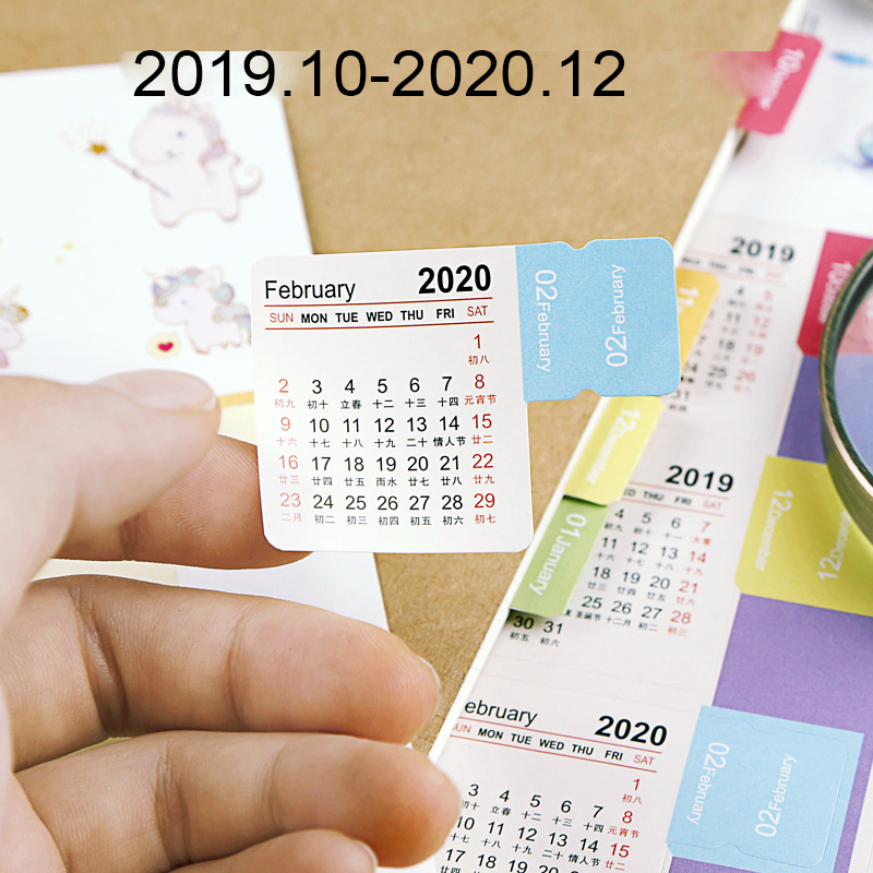 2020 Year Calendar Stickers Index Bookmark Planner Bullet Journal Accessories Decorative Stickers Label Calendar Stationery 2pcs