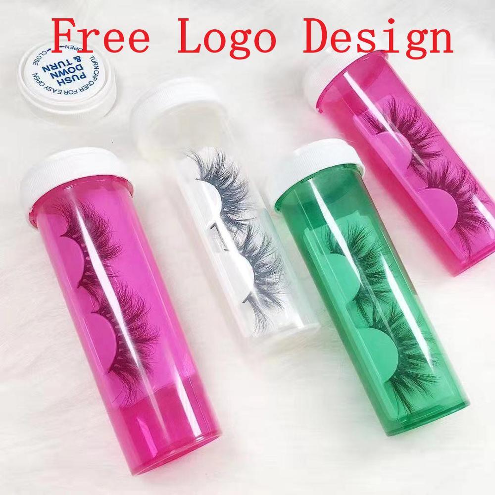 Custom Eyelash Packaging Medicine Bottle 3d Mink Eyelashes Soft Long False Mink Eye Lashes