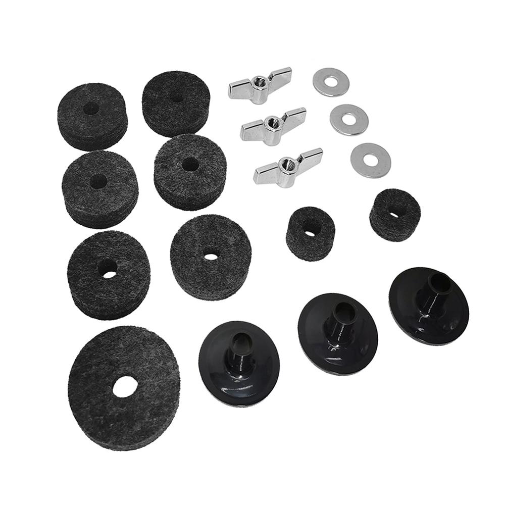 18pcs Drum Cymbal Accessories Set Cymbal Wing Nuts Hi-Hat Clutch Felts Hi-Hat Cup Felt Drum Set Portable Cymbal Felt Replacement