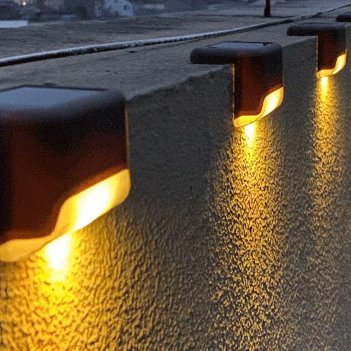 2/4/6PCS LED Solar Lamp Path Stair Outdoor Waterproof Wall Light Garden Landscape Step Stair Deck Balcony Fence Solar Lights
