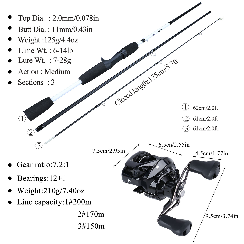 Conjunto de caña de pescar Sougayilang 1,75 m Combo 3 secciones de caña de pescar de carbono con 12 + 1BB carrete de pesca kit de Pesca - 4