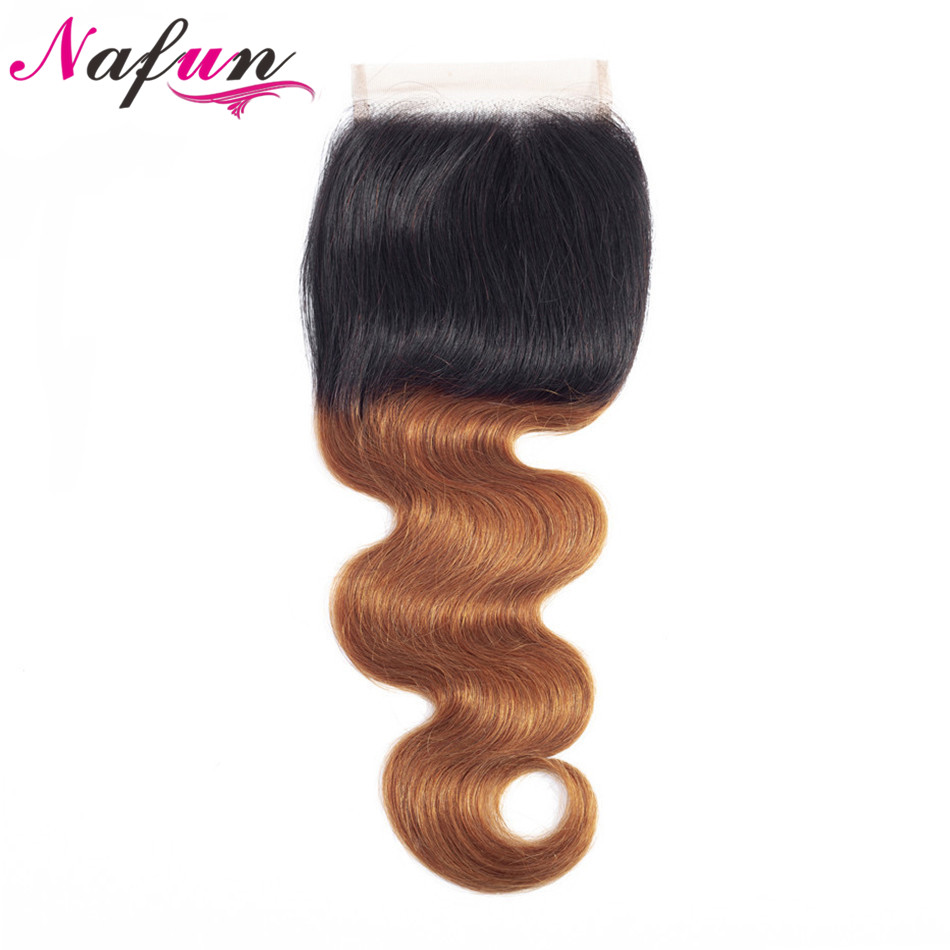 #T1B/30 27 99j Lace Closure NAFUN Brazilian Hair Body Wave Lace Closure Pre-colored Human Hair Closure Non-Remy Hair Ombre Color