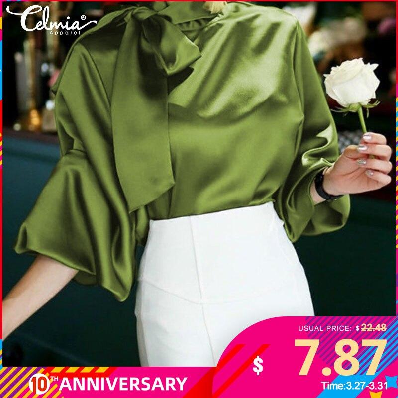 Celmia Satin Blouse Women 2020 Fashion Top Elegant OL Bow Tie Neck Lantern Sleeve Office Shirt Casual Blusas Mujer Plus Size 5XL