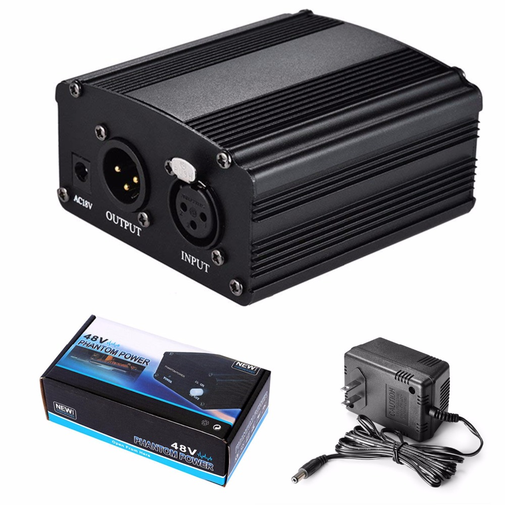 Microphone 1-Channel 48V Phantom Power Supply+Adapter AU US EU Plug For Any Condenser Microphone Recording