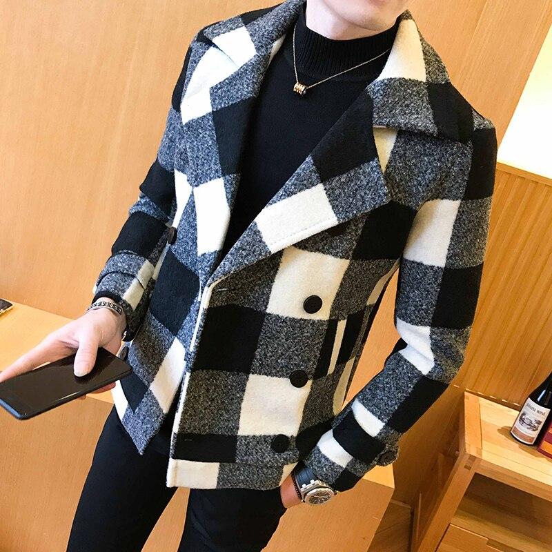 Mens Coat 2020 new double-breasted windbreaker fashion retro tartan coat large slim short coat men's banquet party dress coat