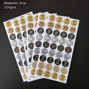 Image 5 - Leeiu 216pcs Gold Black 30th Birthday Sticker Cheers 30 Years Birthday Party Decoration Gift Box Paper Sticker Adult Party