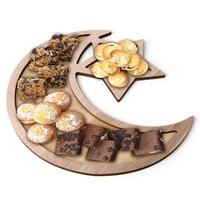 Bandeja de madera para comida, suministros de Ramadán para decoración del hogar, Hotel, café, servicio, Eid musulmán islámico, Mubarak, 2021