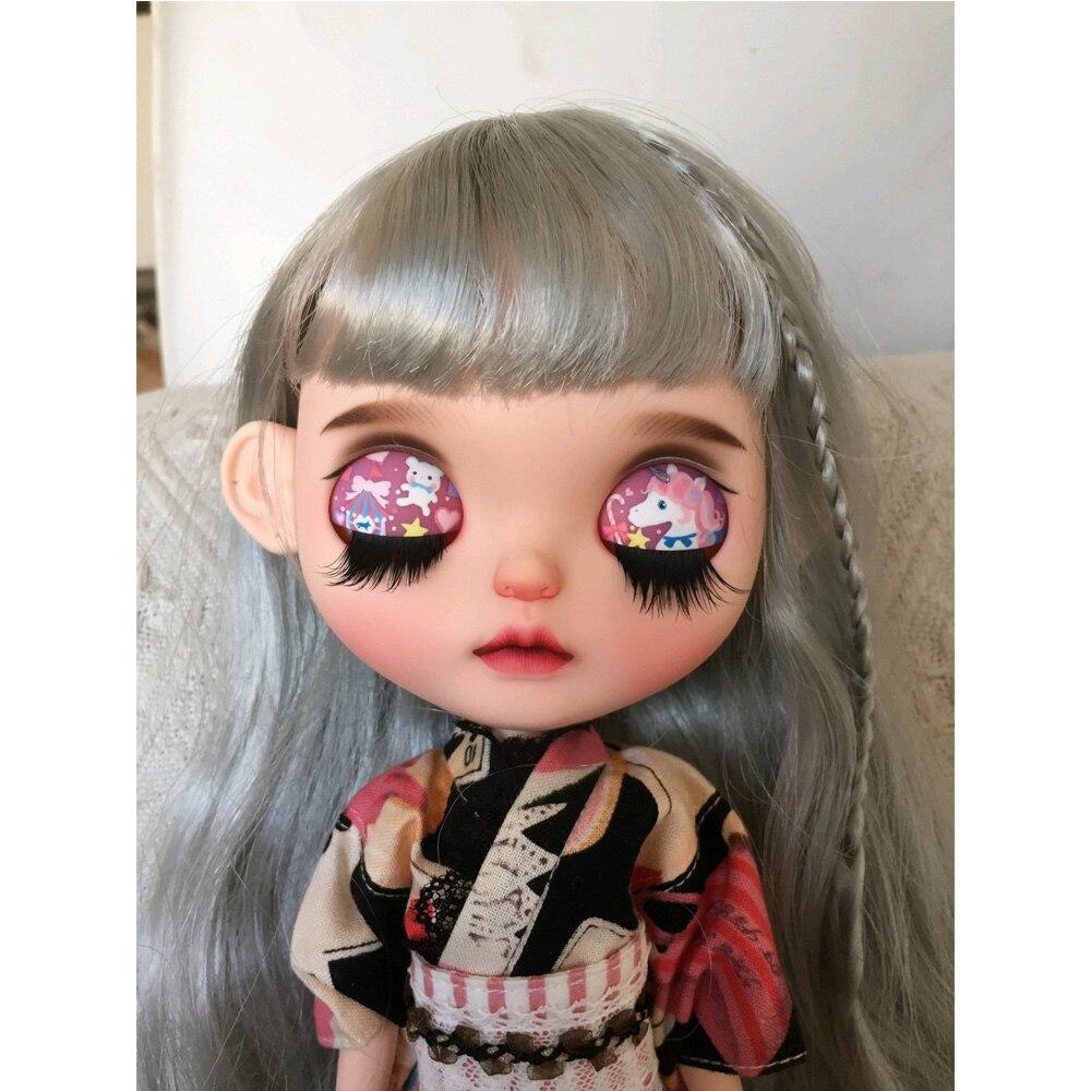 1/6 blyth doll toy bjd joint body white with skin makeup doll with 19joint body makeup face Pout doll Sleep eyes Painting unicor