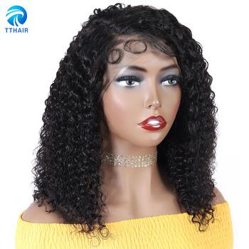 Kręcone ludzkie włosy peruka Bob koronkowa peruka na przód s peruwiański peruki z ludzkich włosów 13 #215 6 koronkowa peruka na przód 13 #215 4 przodu peruka 4 #215 4 zamknięcie peruka 150 Remy tanie i dobre opinie TTHAIR Remy Ludzki Włos CN (pochodzenie) Średnia wielkość