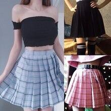 Женская плиссированная клетчатая мини-юбка Harajuku с высокой талией в Корейском стиле, Милая Короткая Сексуальная Милая форма для школьниц, ле...