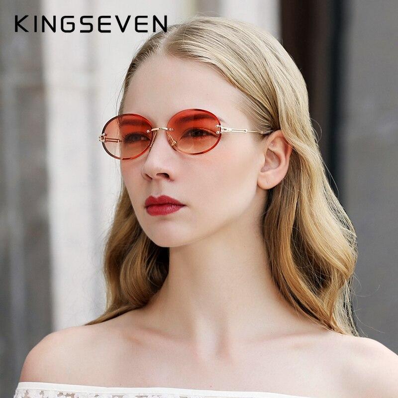 Gafas de sol con gradiente sin montura para mujer con diseño de marca KINGSEVEN