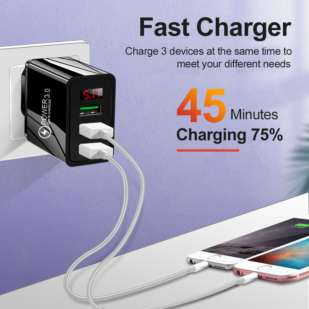 Quick Charge 3.0 LED Display 3 USB Charger 3A Fast Charging For iPhone 11 Charger Adapter Mobile Phone Chargers For Samsung S10