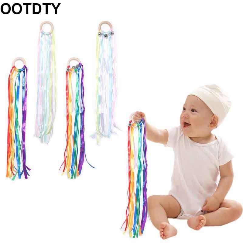 Anneau de ruban en bois arc-en-ciel   Naturel, clochette sensorielle pour nouveau-né, jouet douche, cadeaux de danse pour tout-petits
