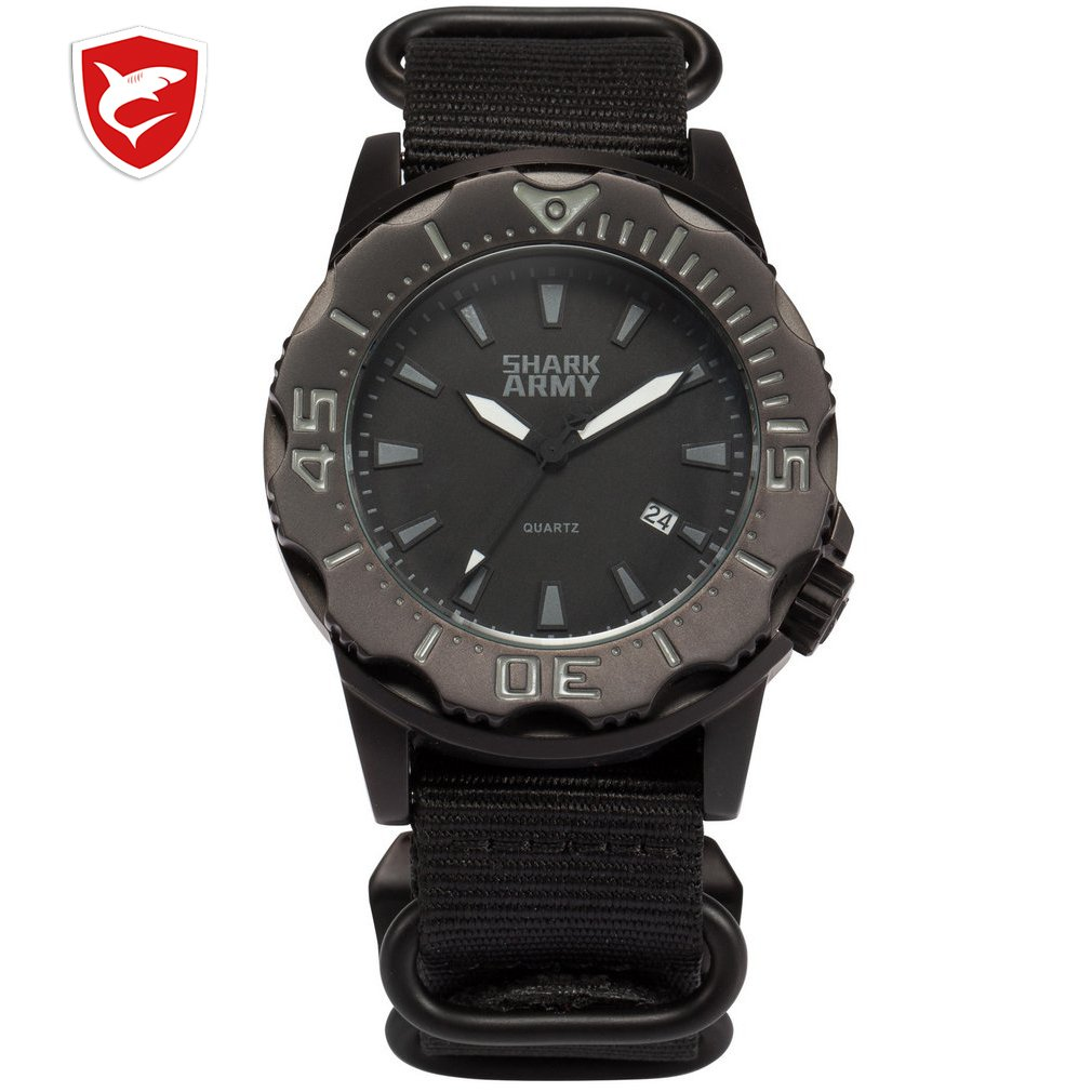 SHARK ARMY Full Steel 100m Waterproof Date Display Black Nylon Band Luminous Hands Reloj Military Sport Quartz Watch /SAW193 Hot