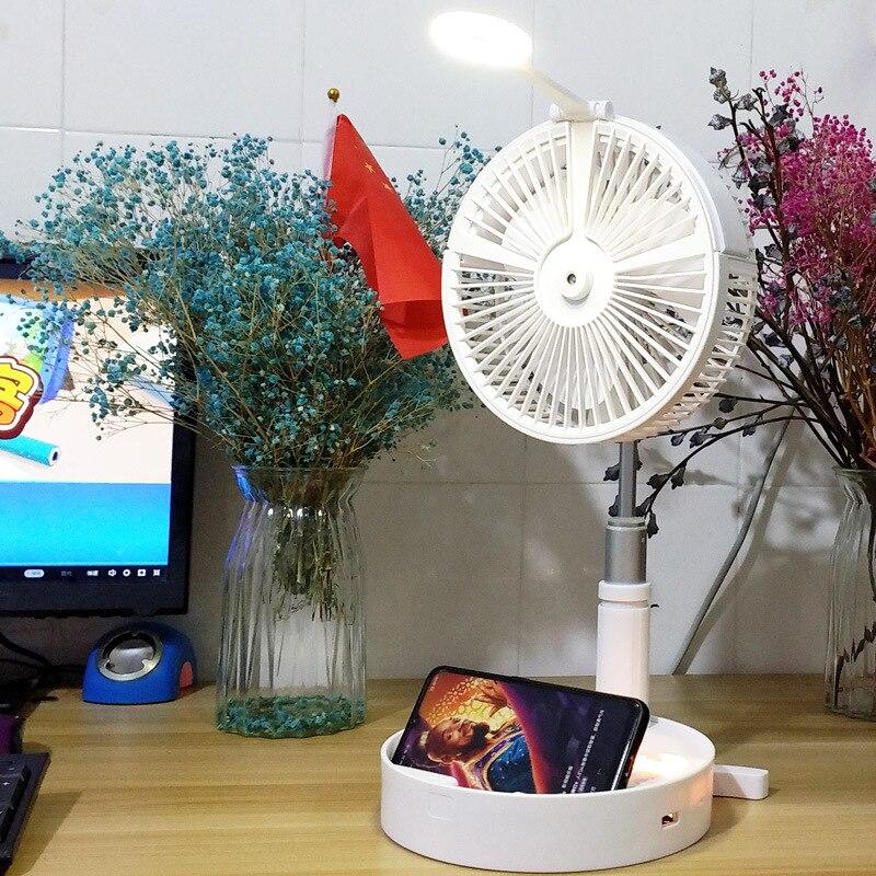 USB Eletric Fan Humidifying Hydration Water Spray Fan Portable Folding Retractable Fan Desk Lamp Fan Telescopic night light