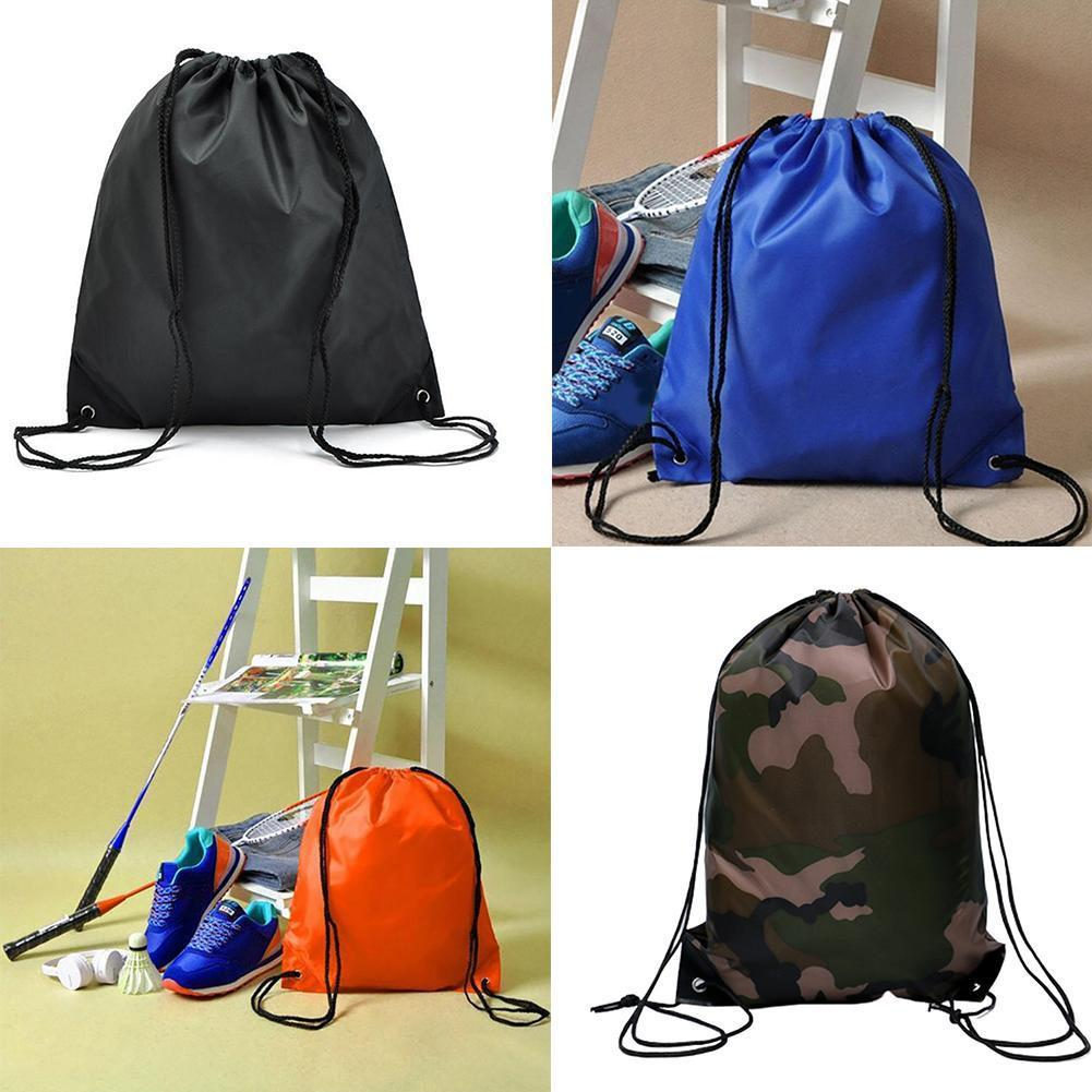 Backpack Drawstring Bag Travel Sport Outdoor Bag Portable Cloth Pocket Hiking Lightweight Oxford Storage M8C3