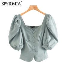 Kpytomoa feminina 2020 moda botão-up blusas recortadas vintage v pescoço manga puff camisas femininas blusas chiques