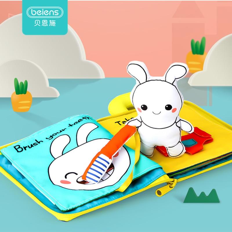 Beiens 3D doux tissu bébé livres animaux et véhicule Montessori bébé jouets pour les tout-petits développement de l'intelligence jouets éducatifs cadeaux