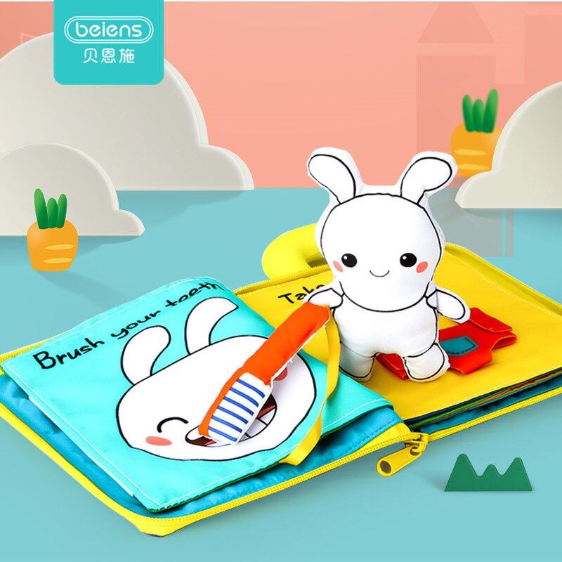 Beiens 3D paño suave bebé libros animales y vehículo Montessori bebé juguetes para niños pequeños inteligencia desarrollo juguetes educativos regalos