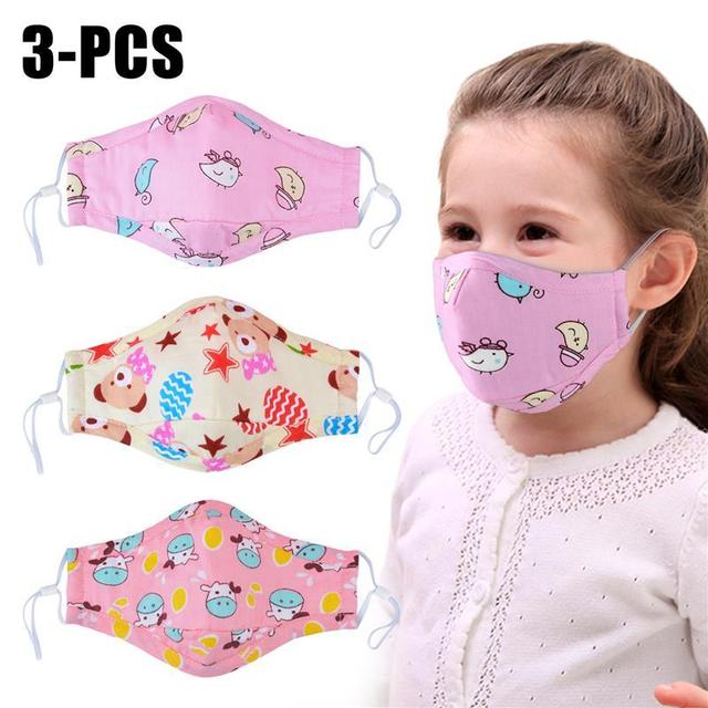 3pcs Mouth Mask Cartoon Printing Breathable Half Face Anti-Dust Mask Cotton Mask For Kids Clothing Accessories