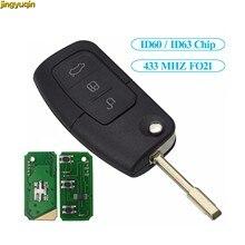 Jingyuqin remoto llave de coche FO21 4D63/60 ID63/60/40/80bit Chip de 433Mhz para Ford Fiesta C Max Ka Mondeo Galaxy S 3 S 4 S 5 S BTN