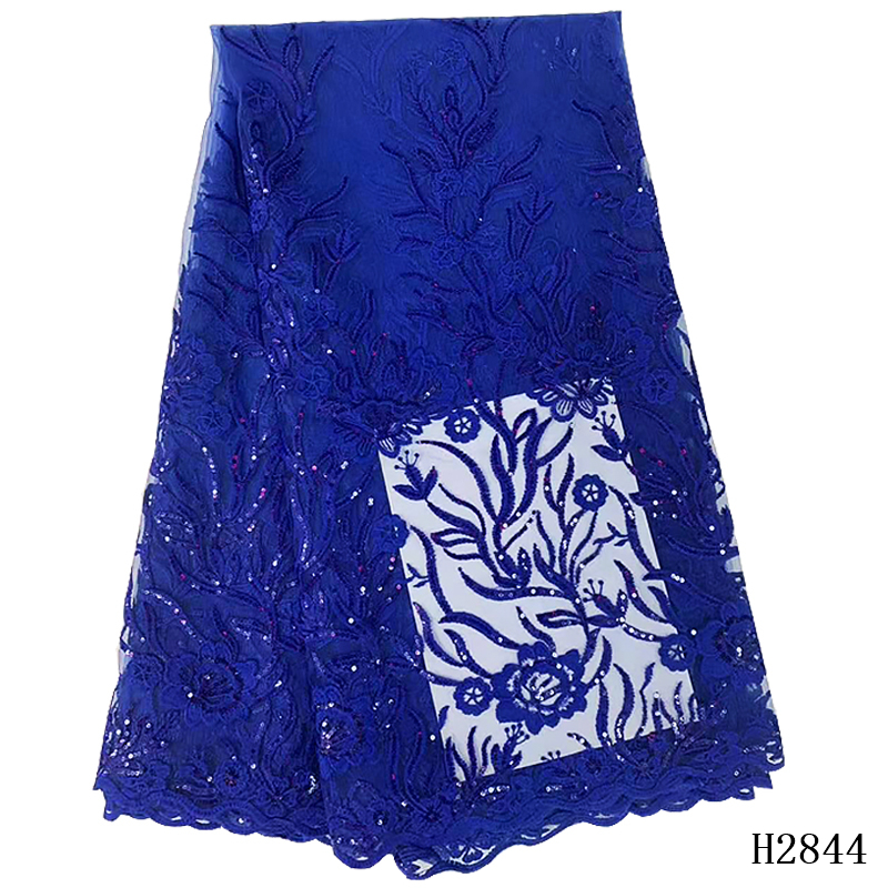 2019 African Lace Fabric High Quality Slap-up Blue Sequins Nigerian Wedding Lace Fabrics 5Yards Sequins French Tulle lace 2844-1