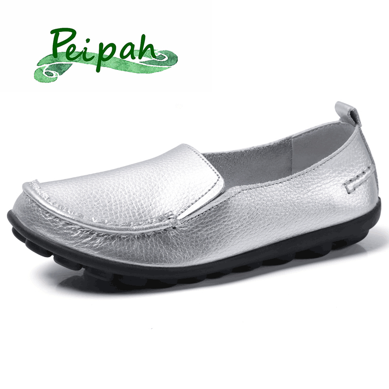 PEIPAH 20Color Genuine Leather Loafers Women Flat Shoes Slip-On Woman Ballet Flats Shallow Casual Female Large Size Shoes Ladies
