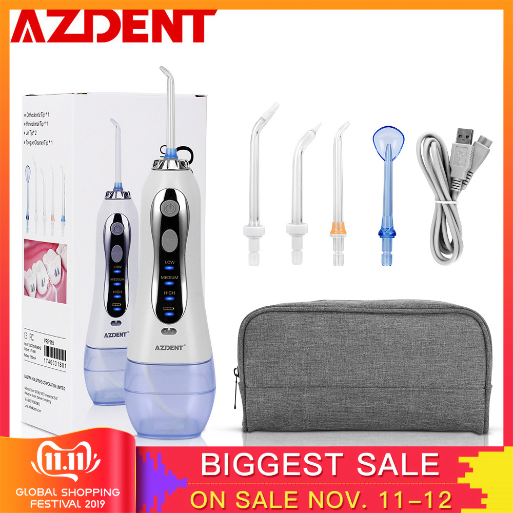 AZDENT Hot Cordless Dental Flosser Portable Oral Jet Irrigator Water Floss + Travel Bag Case USB Charger Tooth Pick 300ml 5 Tips