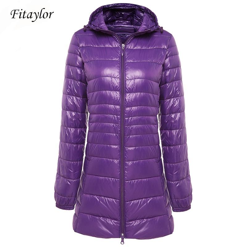 Fitaylor Winter Warm Long Coat Women Ultra Light 90% White Duck Down Jacket Female Hooded Casual Plus Size S-6xl Down Parka Coat