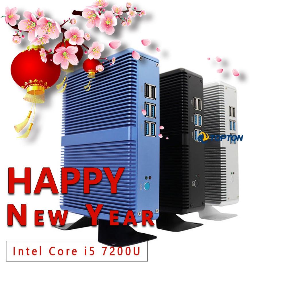 Topton Household Fanless Mini PC Intel Core I3 5005U I5 7200U DDR4 16GB HD Graphics 620 4K HTPC HDMI VGA Display Port Low Power