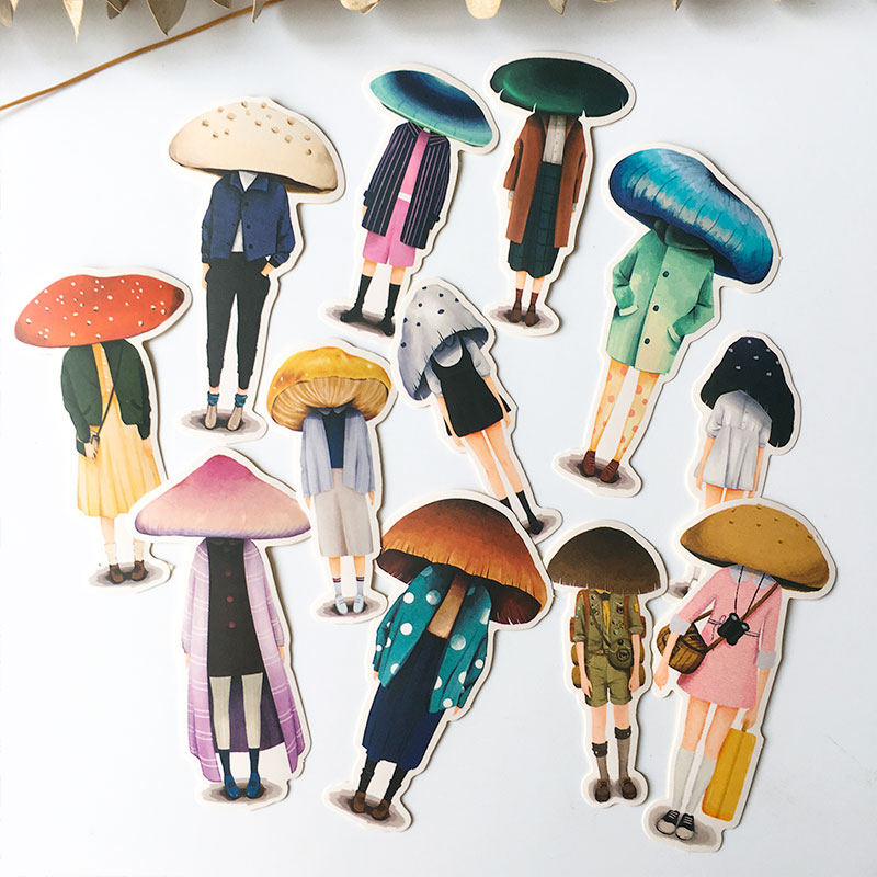 12PCS Mushroom Head Girl Stickers Crafts And Scrapbooking Stickers Book Student Label Decorative Sticker DIY Stationery