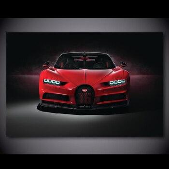 Cuadro de arte de pared Bugatti Chiron Cars Red Supercar Vista frontal vehículo pósters e impresiones lienzo pintura para la decoración de la sala de estar