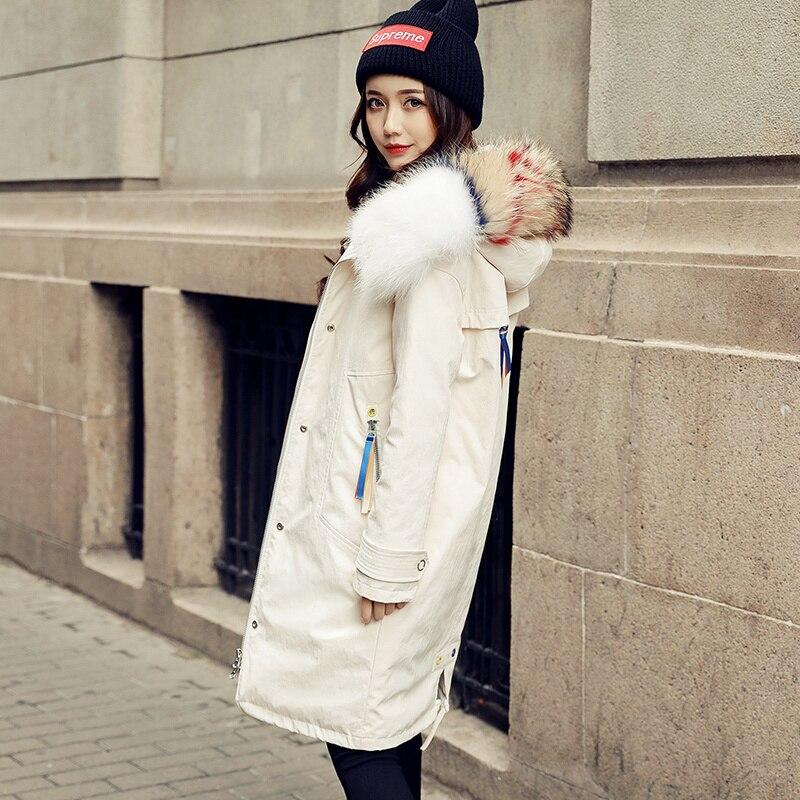 Jacket Down Winter Woman Hooded Korean Big Racoon Fur Collar Long Coat Female Jackets Wadded Parkas Veste Femme KJ489 S