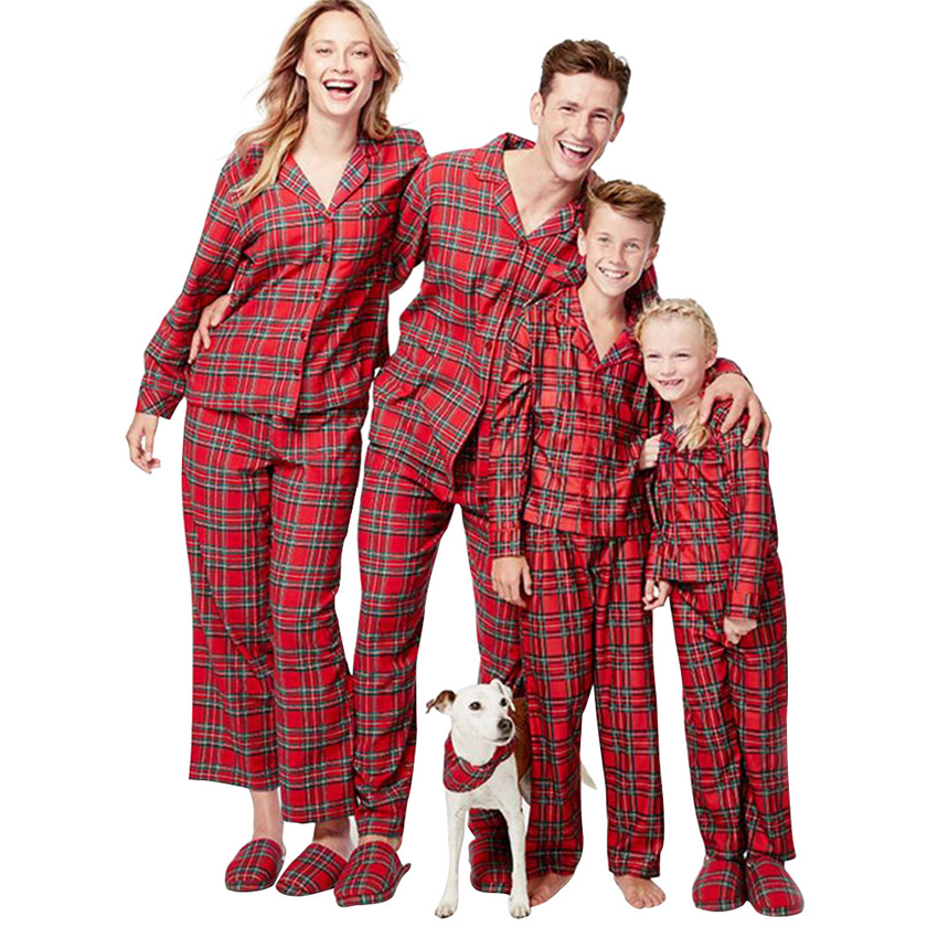 Family Look Matching Christmas Plaid Pajamas Set 2pcs Single Breasted Tops+trousers Xmas Mommy And Me New Year Gift Sleepwear