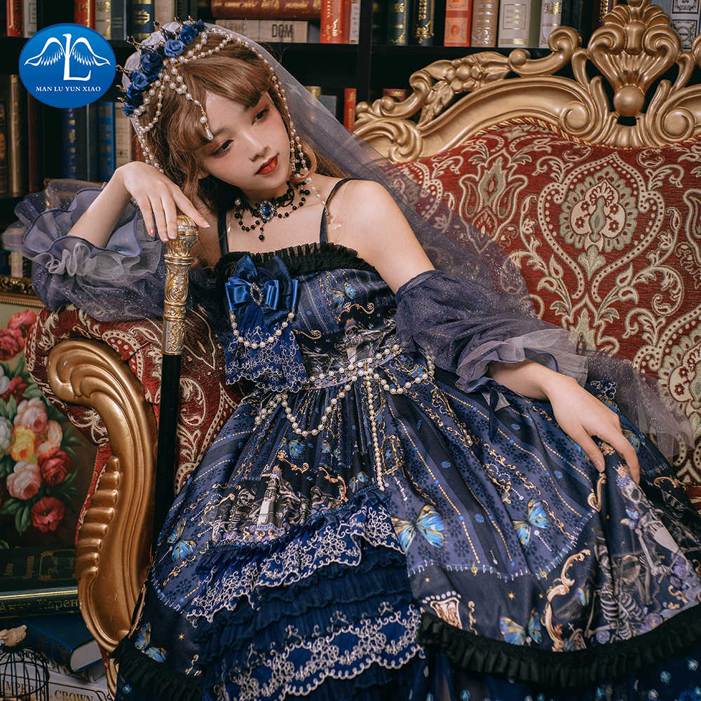 New Arrive Summer Lolita Dress Japanese Kawaii Girl Moon Star Embroidered Victorian Dress Tea Party Gothic Lolita OP Loli Cos