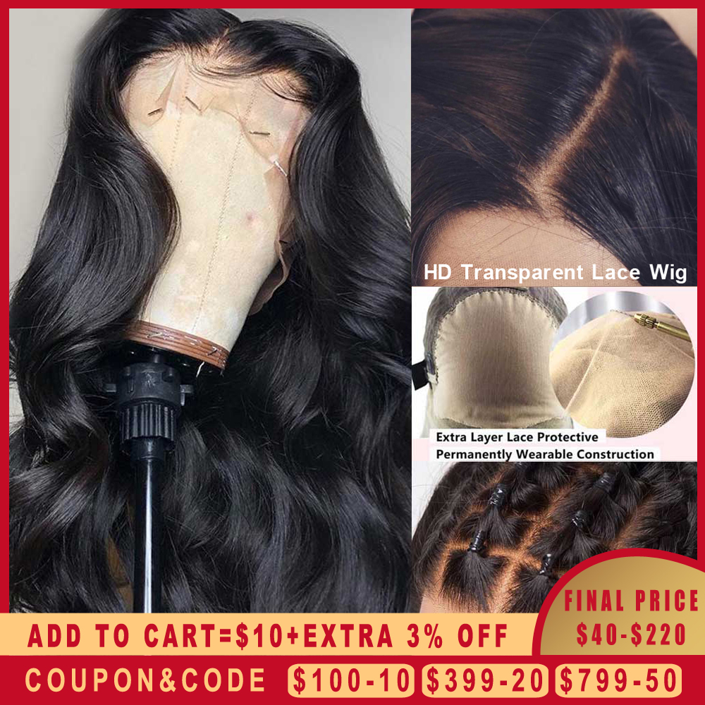 Body Wave Fake Scalp Wig 13x6 Deep Lace Front Human Hair Wigs Invisible Remy PrePlucked Bleached Knots Transparent HD Lace Wig