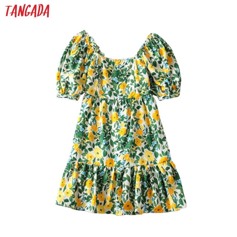Tangada Fashion Women Flowers Print Summer Dress Puff Short Sleeve Ladies Vintage Short Dress Vestidos 6A53
