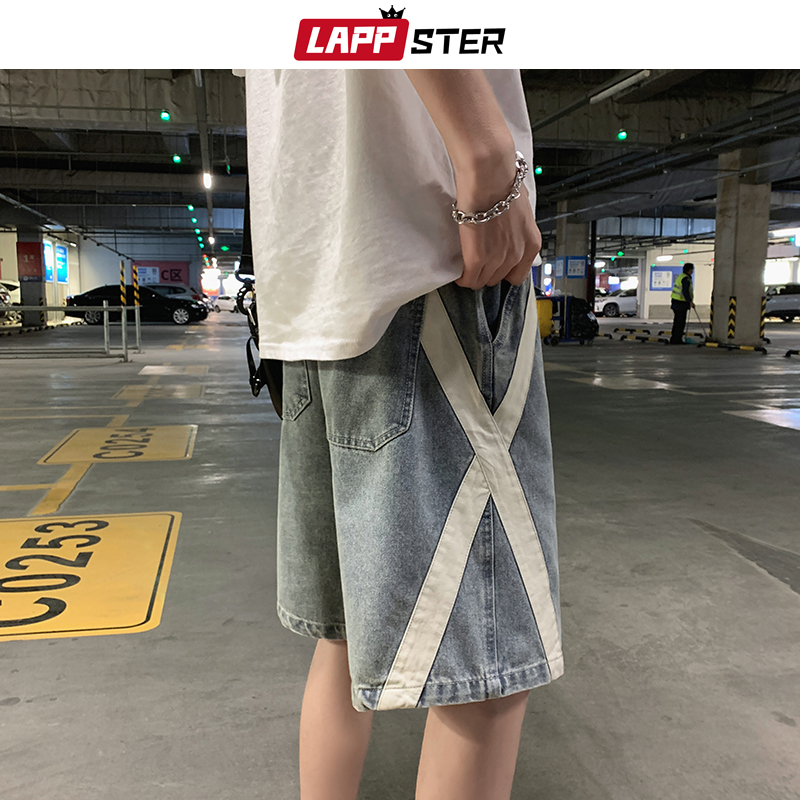 LAPPSTER Summer Men Cross Jeans Shorts 2020 Mens Streetwear Hip Hop Kpop Denim Shorts Casual Fashions Harajuku Baggy Joggers INS