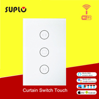 SUPLO US Smart WiFi Curtain Switch Touch APP Remote Control Works with Alexa and Google Home or Electrical Roller Blinds
