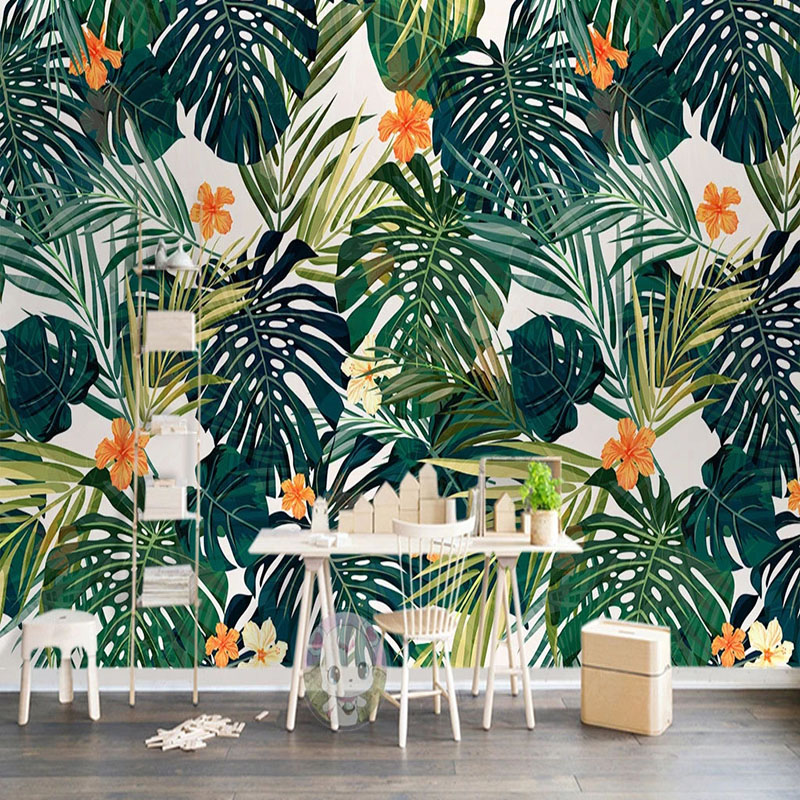 Custom 3D Wallpaper Modern Tropical Plant Leaves Photo Wall Murals Living Room Dining Room Background Wall Painting Papel Murals