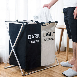 Image 3 - X shape Foldable Dirty Laundry Basket Organizer Printed Collapsible Three Grid Home Laundry Hamper Sorter Laundry Basket Large