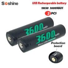 2 adet Soshine 3.7V 13.32Wh 3600Mah NCR18650 Li-ion şarj edilebilir pil mikro Usb ile korumalı el feneri far