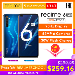 Verdadero yo 6 Pro versión Global 8GB RAM 128GB ROM Snapdragon 720G 30W carga de Flash 4300mAh 64MP Cámara NFC cargador UE Play Store