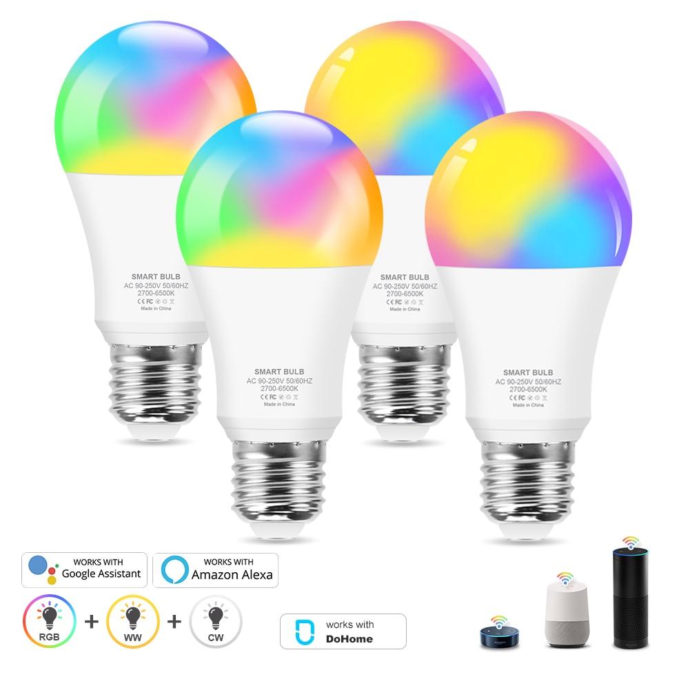 Умная Светодиодная лампа E27 с Wi-Fi, приглушаемая волшебная лампа с белым и теплым белым светом, работает с приложением Alexa/Google Home, 12 Вт