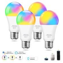 12w wi fi inteligente lâmpada e27 led rgb trabalho com alexa/google casa app controle rgb + branco + branco quente pode ser escurecido lâmpada mágica