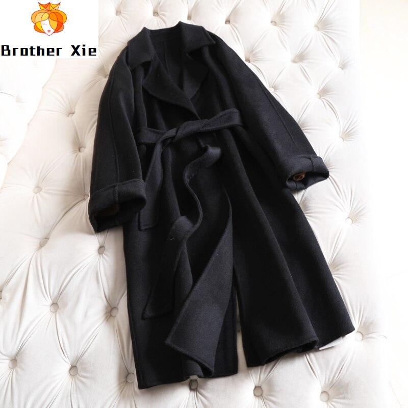 2020 nouveau double face cachemire manteau longues femmes 100% laine pardessus vin rouge veste montrer mince ceinture ample grande taille vêtements solide