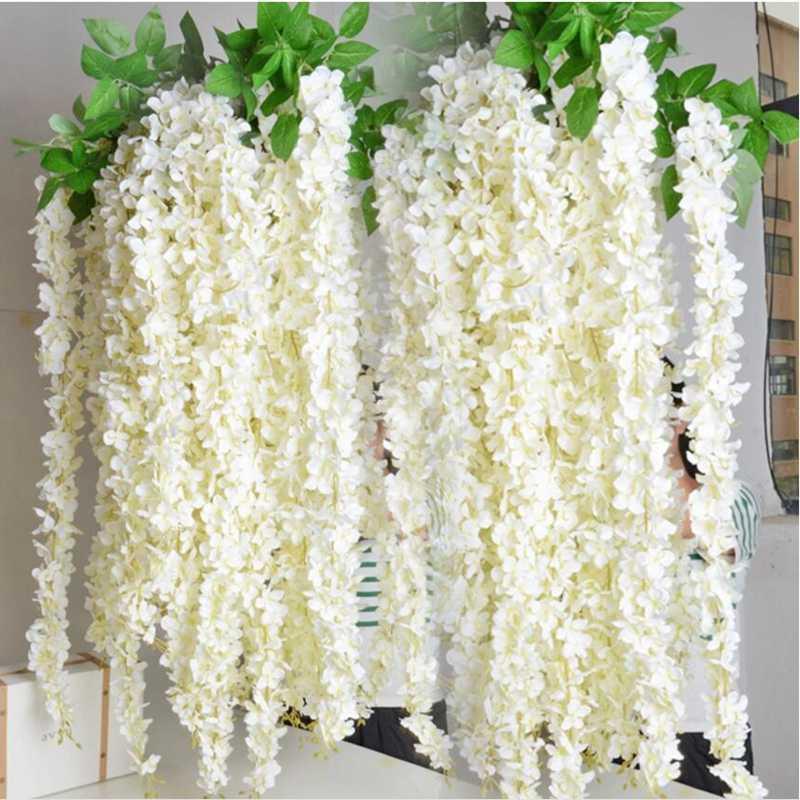 Buatan Bunga Wisteria Pesta Ulang Tahun Pernikahan Romantis Buatan Wisteria Bunga Hias Karangan Bunga Bunga Buatan