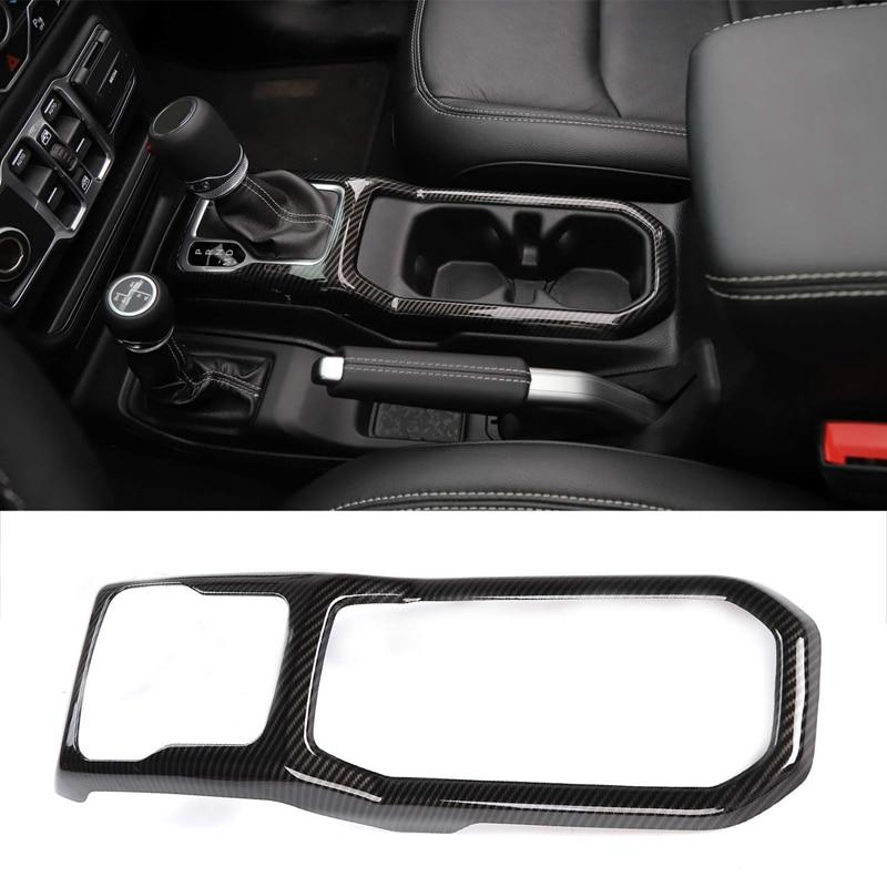 Gear Shift Panel Cover Frame Interior Trim for 2018-2019 Jeep Wrangler JL Car Accessories(Carbon Fiber)