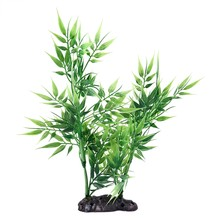 Green Bamboo Leaves Shaped Decorative Artificial Grass for Aquarium Fish Tank(China)
