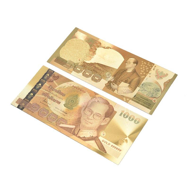 ¡Gran oferta! Billete de Tailandia, 1000 Baht en 24k, papel dorado, colección de marcos de plástico para dinero